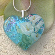 Calla Lily Heart Necklace, Fused Glass Jewelry, Dichroic Glass Necklace