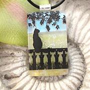 Cat Necklace Bird Watching  Fused Dichroic Glass Jewelry