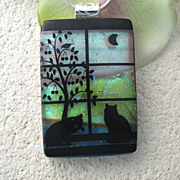Daily Rituals Fused Dichroic Glass Cats Pendant & Necklace