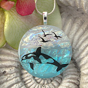 SOLD Whale Watching Fused Dichroic Glass Pendant Necklace