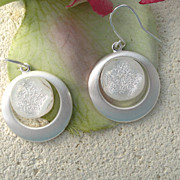Silver White Fused Dichroic Glass Earrings - Silver PLated Dangle Earrings