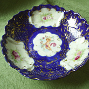 Cobalt Blue Bowl, Hd. Ptd Cherubs, Florals