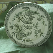 19th C. Aesthetic Transferware plate, ships.