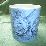 1897 Queen Victoria Blue Mug, Portrait, Mottoes