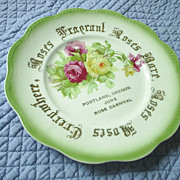 Portland Oregon Rose Festival plate, 1800s beauty!