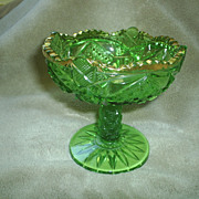 EAPG green glass comport, 19th c.