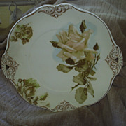 Ohme, Old Ivory Blush Rose Open Hdl. Serving Charger