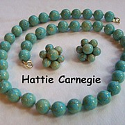 REDUCED Hattie Carnegie Turquoise Glass Beaded Demi Parure Necklace & Earrings