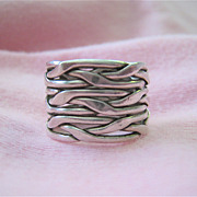 Wide Woven Sterling Silver 925 Band Ring Unisex