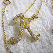 14K Gold Initial K Pendant Slide on Chain with CZs