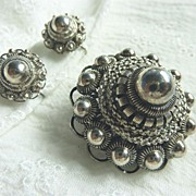 Etruscan 835 Silver Demi Parure Brooch Earrings Impressive