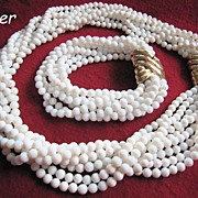 Ciner Demi Parure Choker Necklace Bracelet 8 Strands White Beads