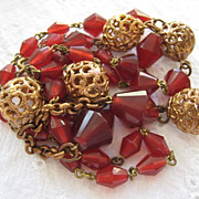 Czech Carnelian Glass Bead Necklace Tassels Brass Filigree Accents