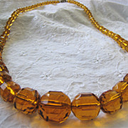 Czech Glass Necklace Yellow Golden Graduated Faceted Barrel Shaped Stones