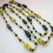 Hand Made Venetian Art Glass Necklace Yellow Black 40 Inches Wired Old