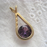 14K Gold Amethyst Pendant Simple Mod Design