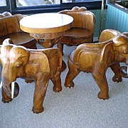 Awesome Hand Carved Teak Elephant Table & Four Chairs