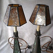 Marvelous Pair Arts & Crafts Slag Glass / Bronze Lamps