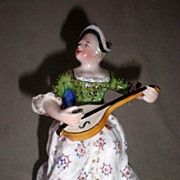 Wonderful Vintage German Figure of Woman Playing Lute