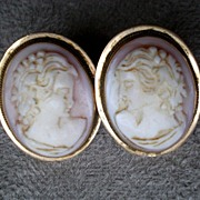 "Beautiful Pair 14k Gold ""Bacchus"" Cameo Earrings"