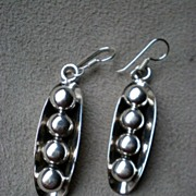 "Gorgeous Pair Mexican Sterling Silver ""Peas in Pod"" Earrings"