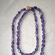 "Stunning 32"" Polished Amethyst Stone Necklace with 14k Clasp"
