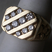 Magnificent 14k Gold & Diamond Man's Ring