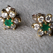 Stunning 14k Gold Emerald and Diamond Earrings
