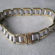 Beautiful 14k White and Yellow Gold Link Bracelet