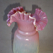 Fabulous Opalescent Peach Blow Glass Vase