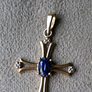 Beautiful 10k Gold Cross with Tanzanite and Diamonds