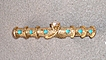 Stunning 14k Gold w/ Turquoise & Cultured Pearl Bar Pin