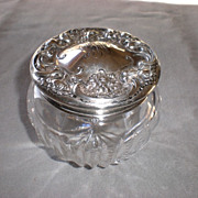Beautiful Wallace Sterling Silver / Crystal Floral Dresser Jar