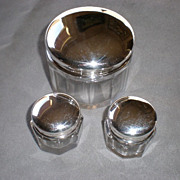 Fabulous 3 Piece Sterling and Crystal Dresser Jar Set