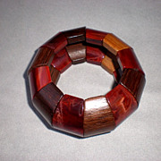 Beautiful Vintage Bakelite and Wood Bangle Bracelet