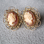 Fabulous Pair 14k Gold Shell Cameo Earrings