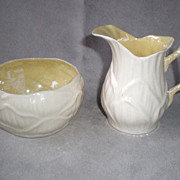 "Fabulous Belleek ""Lily"" Pattern Cream & Sugar - Black Mark"
