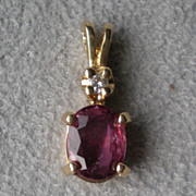 Beautiful 14k Gold and Ruby with Diamond Pendant