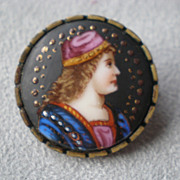 Gorgeous Victorian Hand Painted Porcelain Pin