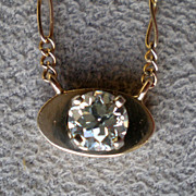Gorgeous 0.5 carat Mine Cut Diamond Pendant Necklace