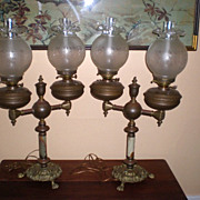 Magnificent Pair &quot;Duplex&quot; Double Student Lamps