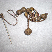 Wonderful Victorian Pin with Balls and Attached Stick Pin
