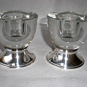 Beautiful Pair of Crystal Candle Holders with Sterling Base