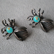 Fun Vintage Pair of Sterling and Turquoise &quot;Bug&quot; Earrings