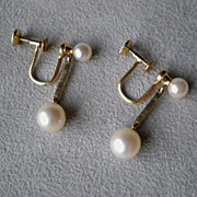 Gorgeous 14k Gold and Pearl Dangling Earrings