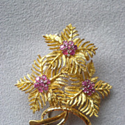Stunning 18k Gold and Ruby Leaf Pin or Brooch