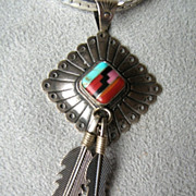 Beautiful Southwest Sterling Silver Inlay Necklace
