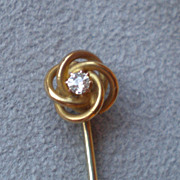 Gorgeous 14k Gold  and Diamond Stick PIn