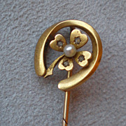 "Fabulous Vintage ""Lucky"" 14k Gold with Pearl & Diamond Stick Pin"