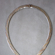 Beautiful Two Tone Wide Sterling Silver Mesh Necklace
